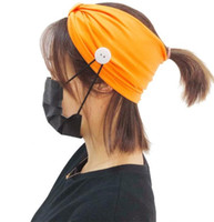 Enmascaran Botón Cinta de cabeza anti-Titular de apriete Máscara Headwrap Orejas Protect enmascaran Correa extensor de Headwear de la venda del pelo de la yoga Pañuelo GGA3348-3