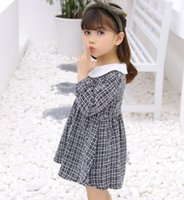 2019 Primavera Autunno Swallow Gird Dress Houndstooth Plaid Check Toddler Bambini Bambini Cappotto manica lunga per le ragazze