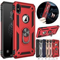 Hybrid-Rüstungs-Kasten Magnetringständer Ständer Fall für iPhone 11 pro X XS Max XR 7 8 6S und SE 2020 Galaxie s20 S10 s9 und Note 10 Fall