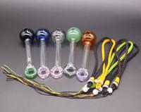 도넛 Pyrex 유리 오일 버너 파이프 교수형 로프 다채로운 유리 파이프 유리 흡연 파이프 새로운 도착 흡연 액세서리