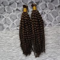 No trama dei capelli umani intrecciatura Bulk 2 pezzi per l'uomo che intreccia No Attrezzatura Bulk intrecciare i capelli Bundle 200G massa dei capelli ricci sciolti mongolo