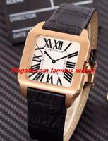 Relógio de luxo 8 Estilo Unisex 36 MM Dumont 18 K Rose Gold White Dial Pulseira de Couro Movimento de Quartzo Moda Feminina Relógios relógio de Pulso