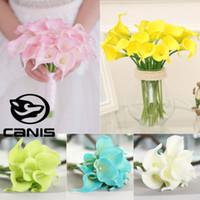 1pcs tocco reale Giglio di Calla PVC fiore artificiale Mazzi casa nuziale della sposa di simulazione falso fiori Ghirlande 10 colori