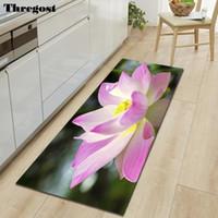 Thregost Floral salle de bains tapis doux microfibre Tapis Pour Escalier étapes Cuisine Tapis Lavable intérieur Paillasson impression Salon Tapis