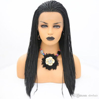 African Braided Wigs Heat Resistant Synthetic Lace Front Wig...