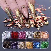 Маникюр 12 сетки для ногтей пайки пайетки алюминиевые нерегулярные хлопья золотые серебряные пигментные ногтя украшения зеркала блеск фольги