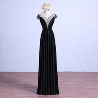 캡핑 된 V 목 새틴 이브닝 드레스 2019 페르시 이브닝 가운 반팔 긴 파티 드레스 블랙 로얄 블루 E020