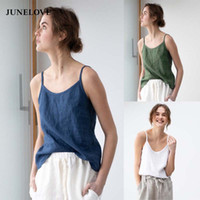 JuneLove Women Summer Sexy Linen Camis Vintage Solid Female ...
