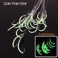 150pcs 12 # / 14 # / 16 # lumineux Maruseigo Hook (avec des lignes de pêche) La pêche en haute en acier au carbone crochets SF_8