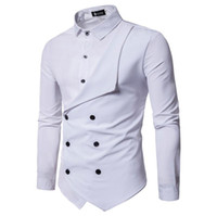 Elegante Mens Falso 2 pcs Camisas Double Breasted Designer Camisas Casuais Moda Tops
