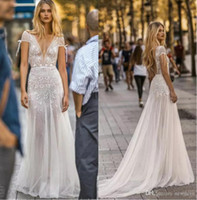 Gali Karten 2019 Ultimi abiti da sposa Cap Sleeve Illusion Lace Applique Abito da sposa Sweep Train Backless A Line Abito da sposa