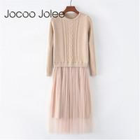 Корейский осень зимнее платье элегантные дамы о шеи с длинным рукавом вязаное MIDI-платье высокой эллистической сетки теплые женщины