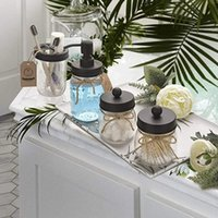 Black Mason Jar Accessori per il bagno Set di coperchi (4pcs) - Jar non incluso - coperchio del dispensatore di sapone, supporto spazzolini da denti, culochi di barattoli di stoccaggio apothecrecario
