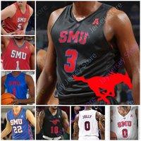 Custom 2020 SMU Mustangs Jersey Basketball NCAA College Tyson Jolly Isiaha Mike Feron Hunt Ethan Chargois CJ Blanc Emmanuel Bandoumel