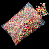 1000pcs / Bag arte del chiodo 3D di frutta Fimo Fette del polimero di fai da te decorazione della fetta di sorriso ~ frutta / piuma / fiore