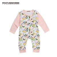 Enfant en bas âge infantile pour bébé filles Floral coton longues Romper points sleeve Jumpsuit vêtements Outfit feuille imprimée barboteuses floraux pour bébé