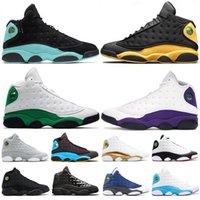 Newest 13 13s Mens Basketball Shoes island green black cat C...
