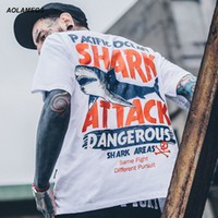 Aolamegs T- shirt Men Dangerous Big Shark Printed Short Sleev...