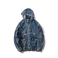 Mens moda giacche Casaul strappato blu disegno della tasca lavato Giacca di jeans Retro cappuccio High Street Streetwear M-XXL