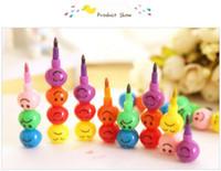 Toptan ücretsiz kargo kırtasiye renkli suluboya fırça gülen karikatür gülümseme kalem kalem marker çocuk kabak oyuncaklar hediyeler 7 renkler kalem
