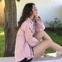Pink Denim Jacket Studded Frayed Curved Hem Casual Coat Fall...
