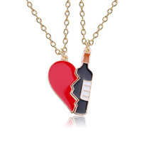 2pcs set New Trendy Wine Bottle Heart Necklaces & Pendants C...