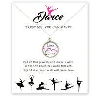 Ballet de la moda collar de niñas bailarín de la danza de baile gimnasia de los colgantes de cristal de 18 mm cabujón mujeres joyería regalo vivo del amor