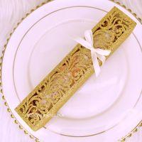 NUEVO Cajas de regalo de boda del corte del láser del brillo de oro con las cintas para la caja del favor del partido de boda para las tarjetas de invitación Titulares de dulces