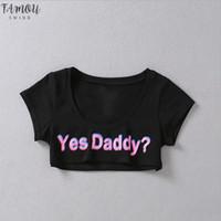 Yaz Evet Baba Mektubu Baskı T Gömlek Kadın Seksi Kırpma Kısa Kollu Kırpılmış Bayan Gömlek Tops