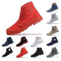 2019 PALLADIUM TOP Qualität Stiefeletten Schuhe für Männer Frauen Triple schwarz weiß grau blau Denim Turnschuhe Mode Leinwand Freizeitschuh Größe 35-45