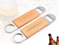 300PCS الفولاذ المقاوم للصدأ مقبض خشبي معلق فتاحة البيرة زجاجة الفتاحات المعمرة أدوات المشروبات البيرة المفتاح بار مطبخ النبيذ هدية SN4148