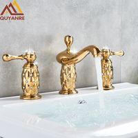 Quyanre Luxury Golden Diamond torneira Bacia do banheiro generalizada Mixer dupla Hanles Mixer Tap Hot Cold Water Mixer Vanity Água da torneira