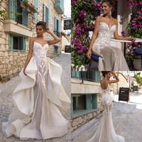 2020 Oksana Mukha Mermaid Robes de mariée avec train détachable Sweetheart Country Robe de mariée Robes de mariée Applique Dentelle Abiti da Sposa