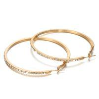 Mode Designer Hoop Boucles d'oreilles Huggie avec strass Simple Big Circle Boucle d'oreille de couleur d'or pour femme Bijoux Cadeau