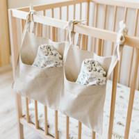 Bettwäsche Zubehör Wickelt Krippe Organizer Wipes Spielzeug Beißringe Leinen Hanging Aufbewahrungstasche Schnuller Baby-Bett-Doppel Taschen