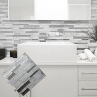 Vit grå marmor mosaikskal och pinne vägg kakel självhäftande backsplash diy kök badrum hemvägg dekal klistermärke vinyl 3d