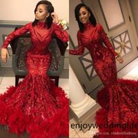 Rote Meerjungfrau Afrikanische Prom Kleider 2019 Vintage Feder Langarm Boden Länge Pailletten High Hals Formale Abendkleid Party Kleider BC1327
