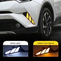 2pcs Para Toyota CHR CHR 2016 2017 2018 2019 virar amarelo Sinais e escurecimento Estilo Relé carro DRL LED Daytime Running luz Daylight luz de nevoeiro