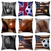 Softball Taie d'oreiller Football Baseball Oreiller Couvre Vintage Drapeau Pillowslip Soccer Imprimé Canapé Coussin Cover Bedroom Home Decorative B5010
