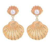 Europa moda gioielli shell delle donne modello orecchino della signora Faux orecchini di perle S145