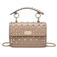 2018 New fashion sheepskin chain bag rivet small genuine lea...