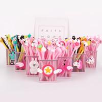20 adet / takım Dolum En Iyi hediye güzel Kız Karton Kawai Pembe Flamingo Swan Jel Kalem 0.38mm Siyah Mürekkep Promosyon Kırtasiye Okul Ofis Hediye