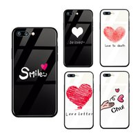 Couple phone iPhone x xs 8 7 6 glass case love letter painte...