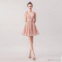 2019 Elegante hellrosa Prom Kleider Spitze Appliques V-Ausschnitt Eine Linie Abendkleider Grade Zug African Vestidos Cocktail Party Kleider 5267
