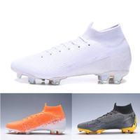 Plyknit 360 Mercurial Superfly VI Elite FG Kinder Big Boys Kinder Junior Männer Fußballschuhe Nuovo Weiß-Pack High Top Fußballschuhe Stiefel