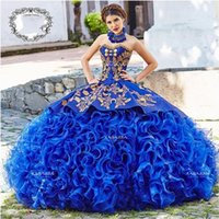 Royal Blue Ball Gown Quinceanera Dresses 2020 Sweetheart Beaded Cascading Ruffles Gold Beads Sweet 16 Dress vestidos de quinceañera