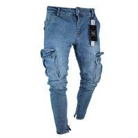 Çok cepler Erkek İçin İnce Düzenli Fit Stretch Esneklik Jeans ile Newsosoo 2018 Erkekler Skinny Kalem Jeans Motosiklet Pantolon