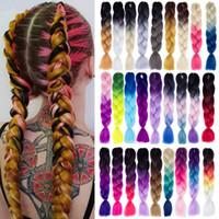 24-дюймовый расширения плетение волос Jumbo вязания плетенки Синтетический стиль волос 100g / Pc Pure Blonde Розовый Зеленый