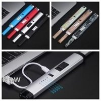 USB Электронная кухня зажигалка 10 цветов Электрические перезаряжаемые ветрозащитный металла Длинные дуги зажигалка зажигалок OOA6312