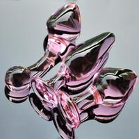 Boutons en cristal rose ensemble Pyrex verre gode anal boule perle faux pénis femelle masturbation sex toy kit pour adultes femmes hommes gay C18112701